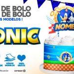 Topo de bolo Sonic e Saia de bolo para imprimir