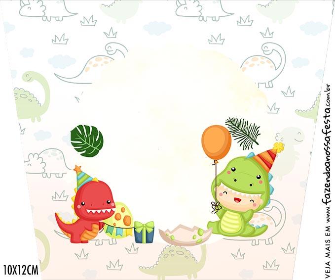 Adesivo Balde de Pipoca Kit Festa Dinossauro Baby