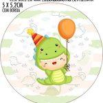 Adesivo redondo personalizado Dinossauro Baby