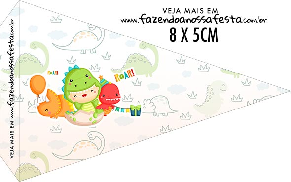 Bandeirinha Sanduiche para imprimir Dinossauro Baby