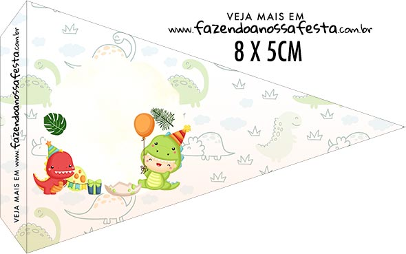 Bandeirinha sanduiche Dinossauro Baby