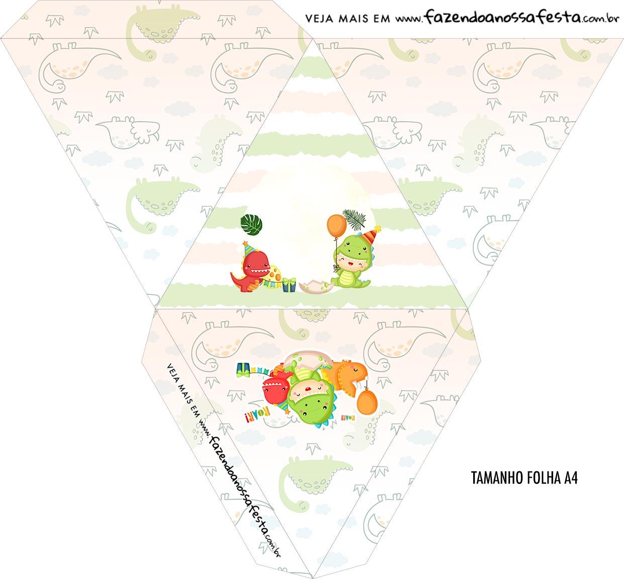 Caixa Piramide Personalizada Dinossauro Baby
