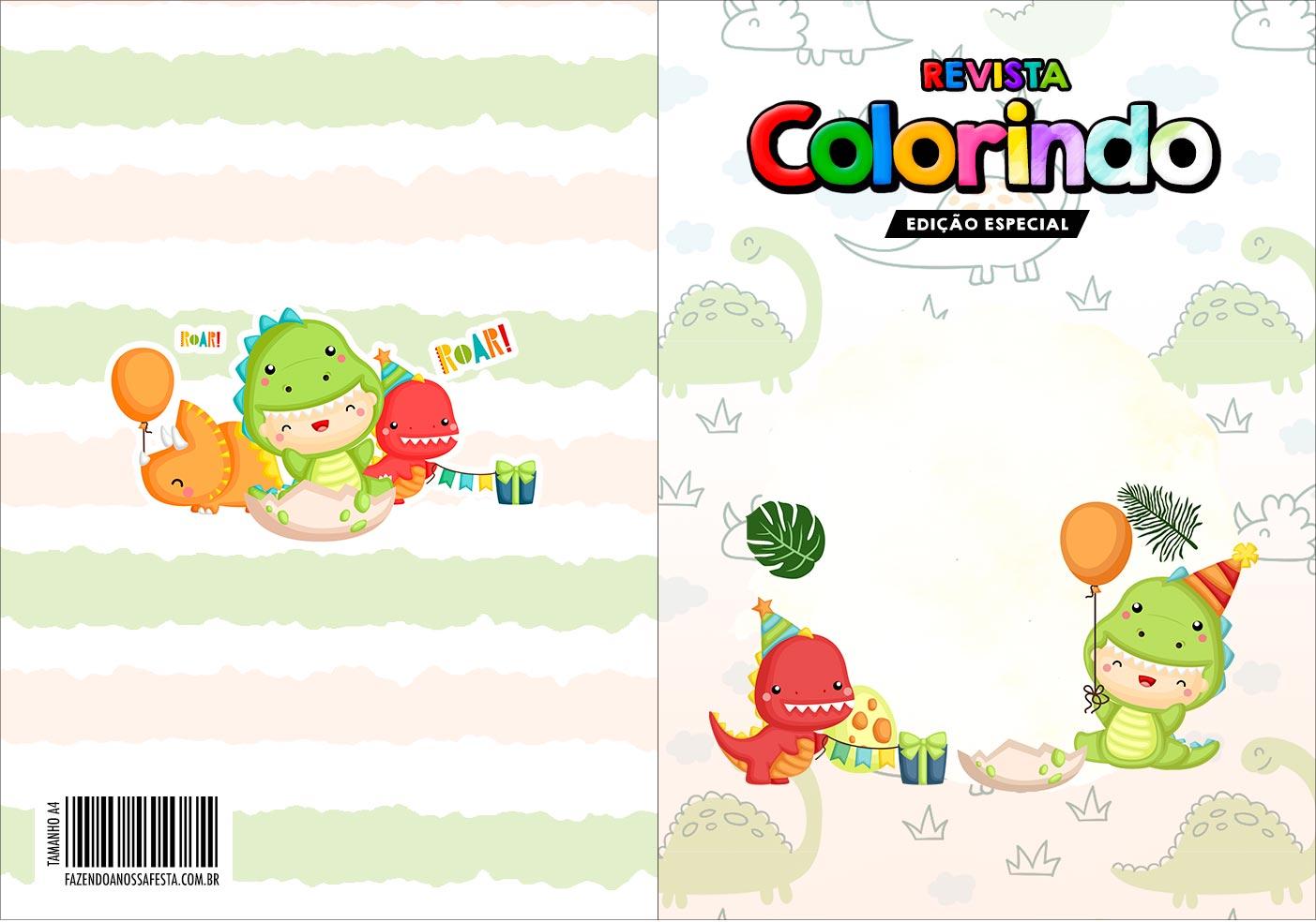 Capa Livrinho para Colorir Dinossauro Baby