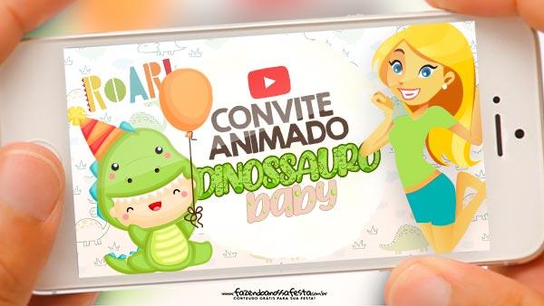 Convite Animado Dinossauro Baby