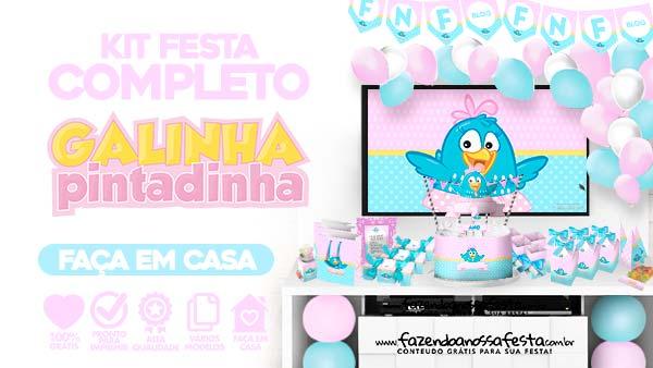 Kit Festa Galinha Pintadinha Rosa para imprimir