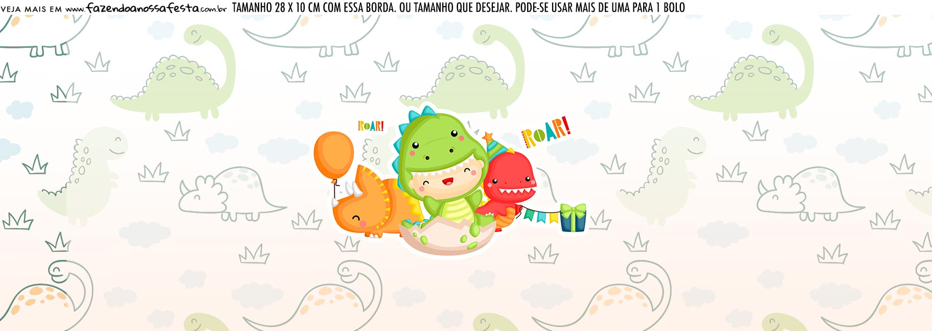 Saia Lateral de Bolo Dinossauro Baby