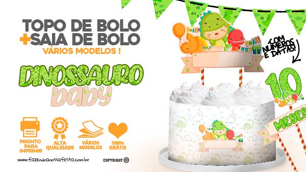 Topo de bolo Dinossauro Baby Gratis
