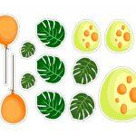 Topo de bolo Dinossauro Baby ovos e folhas