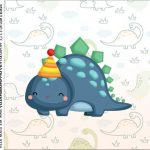 caixa de acrilico adesivo personalizado Dinossauro Baby