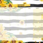 Calendario Mensal 2021 Girassol agosto