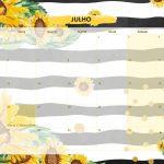Calendario Mensal 2021 Girassol julho