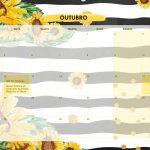 Calendario Mensal 2021 Girassol outubro