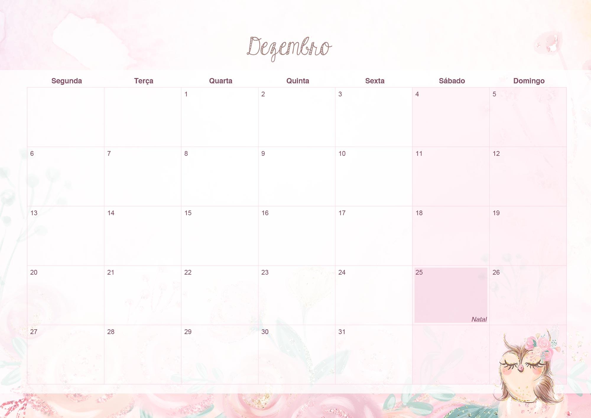 Calendario Mensal 2021 para Imprimir Corujinha dezembro