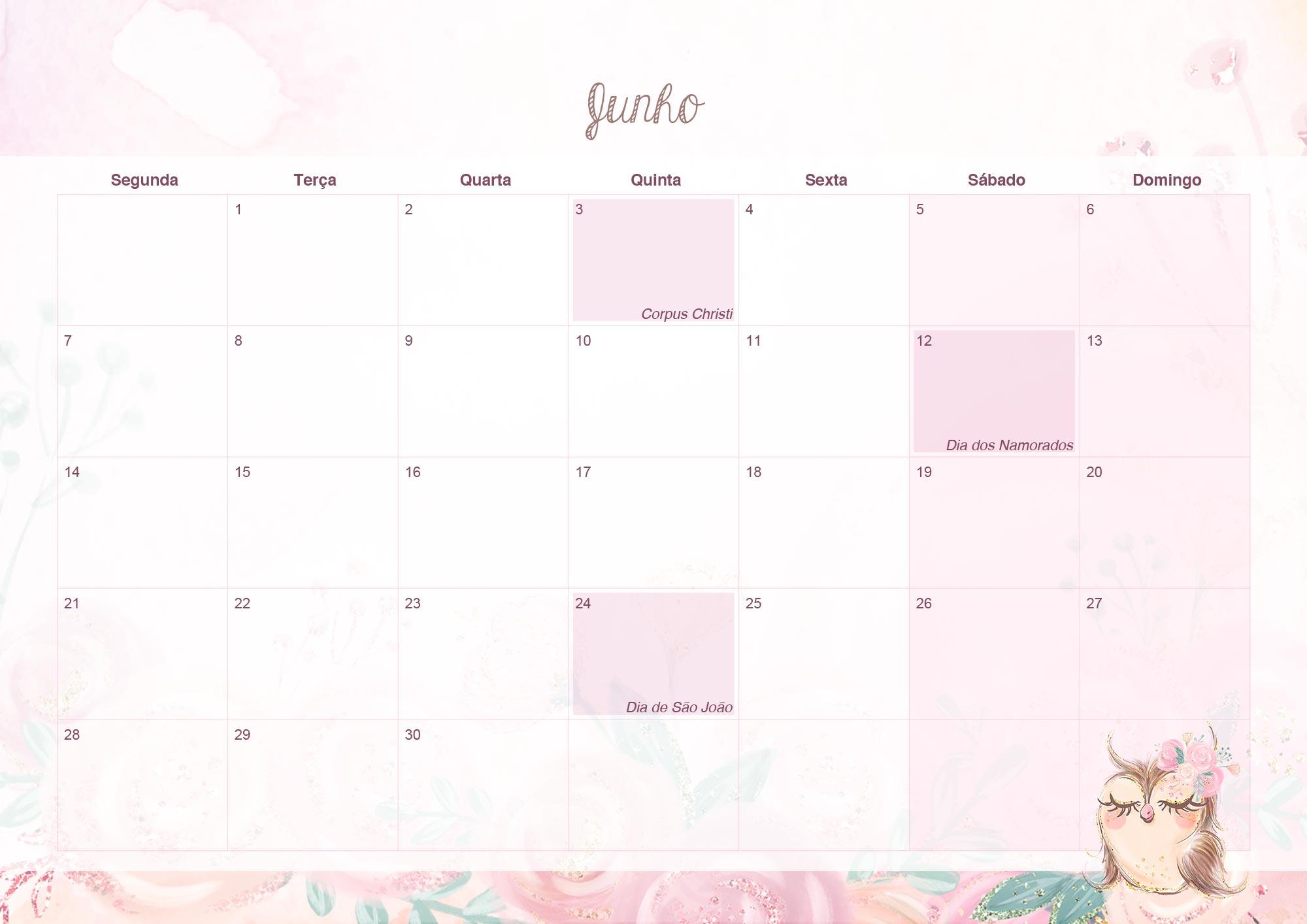 Calendario Mensal 2021 para Imprimir Corujinha junho