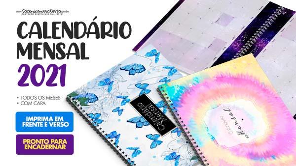 Calendario Mensal 2021 para imprimir gratis