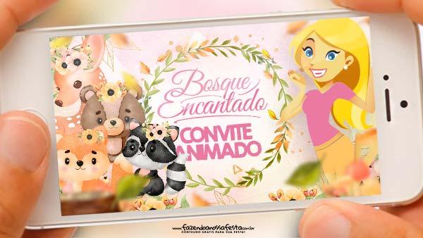 Convite Animado Bosque Encantado Menina