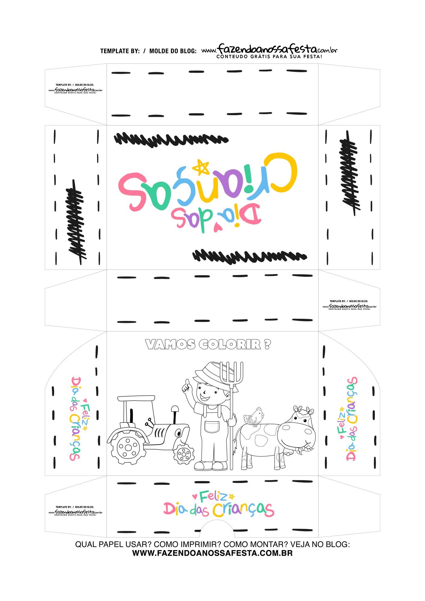 Caixa Dia das Criancas para colorir Fazendinha