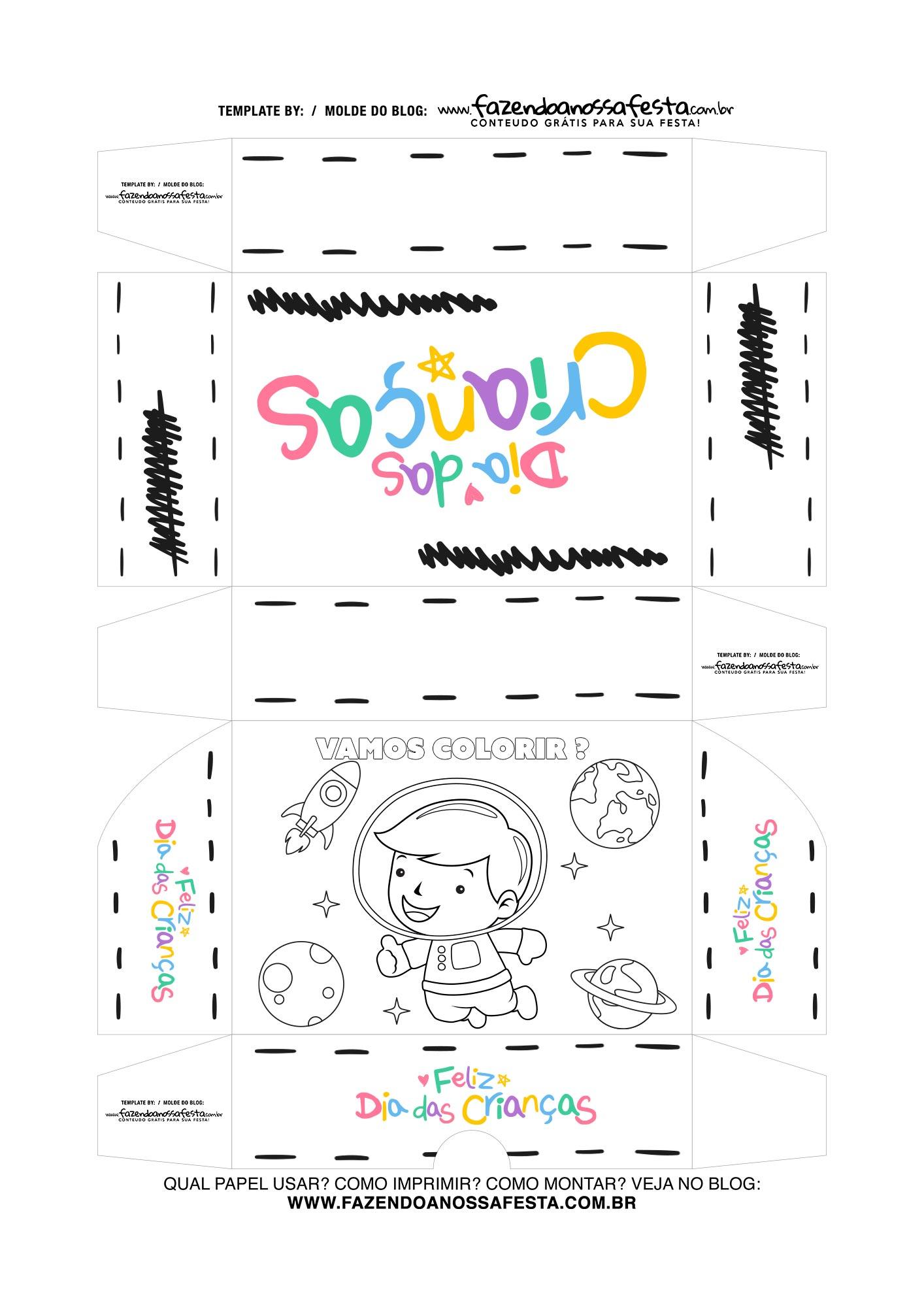 Caixa Dia das Criancas para colorir Astronauta