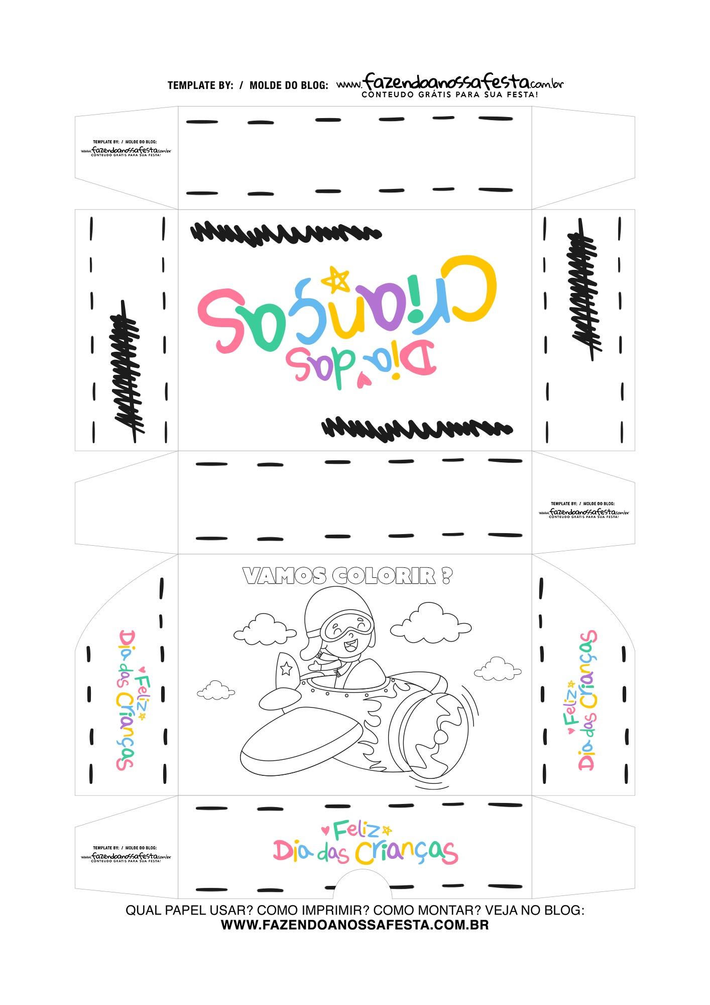 Caixa Dia das Criancas para colorir Aviador