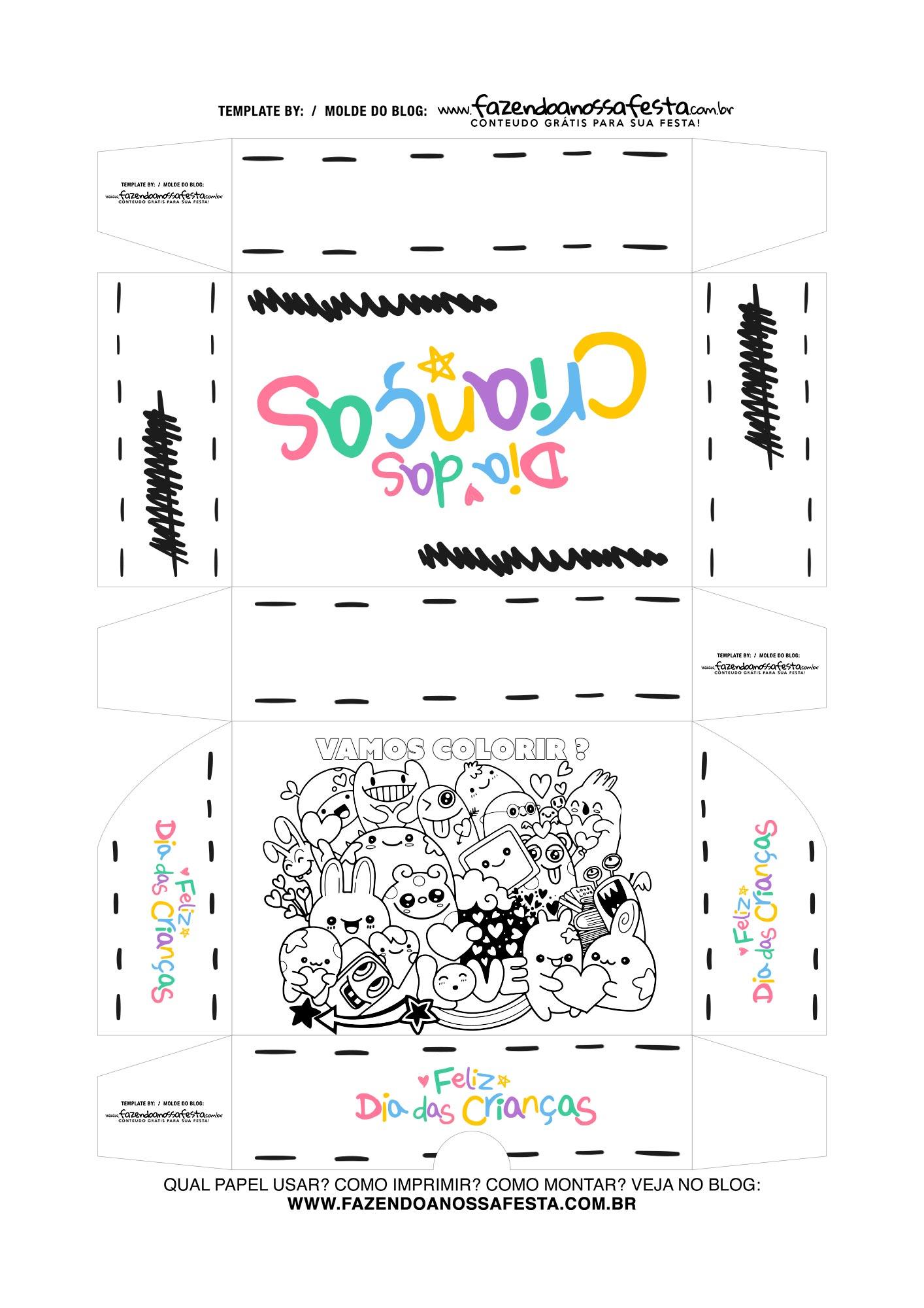 Caixa Dia das Criancas para colorir 5