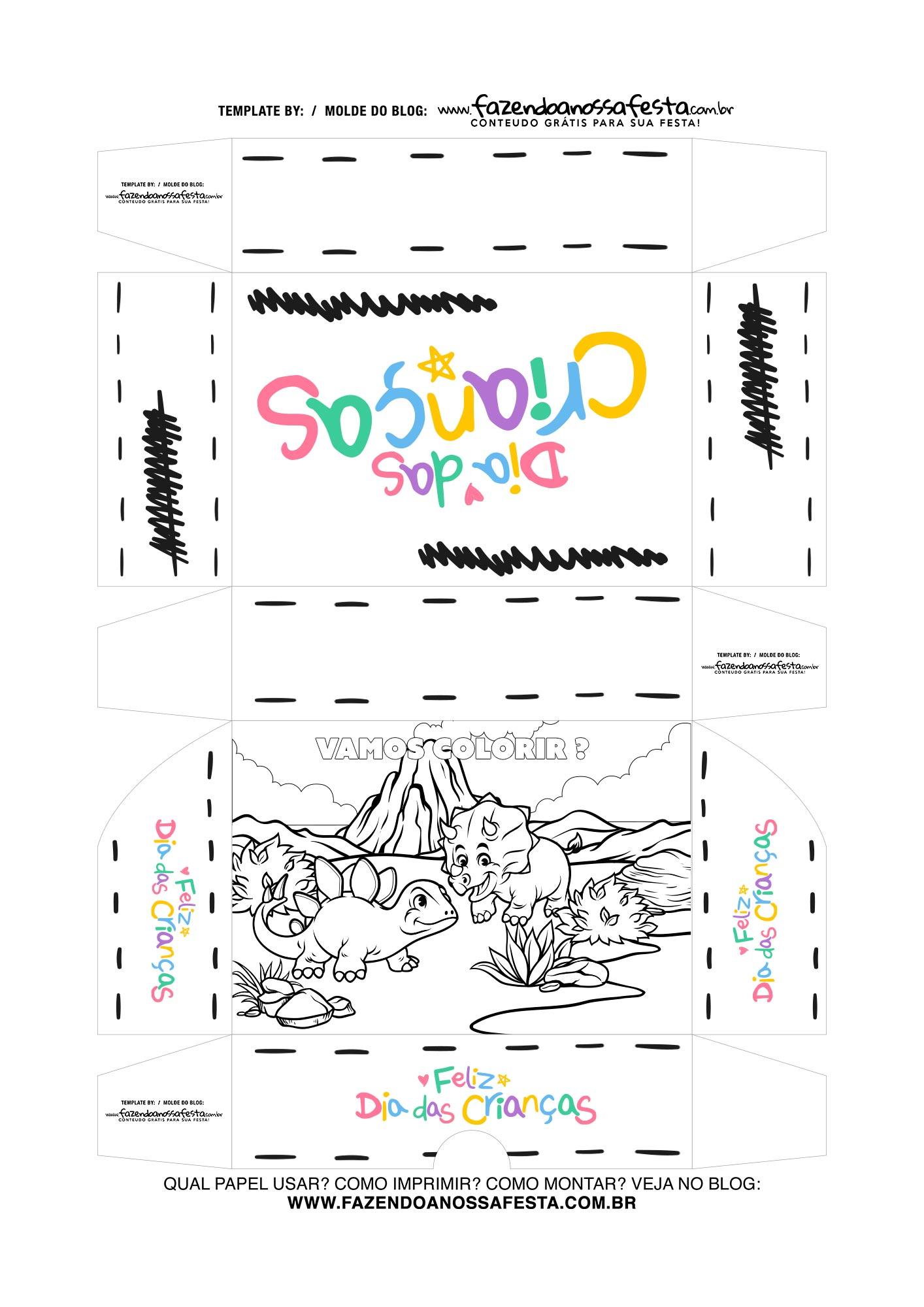 Caixa Dia das Criancas para colorir Dinossauro