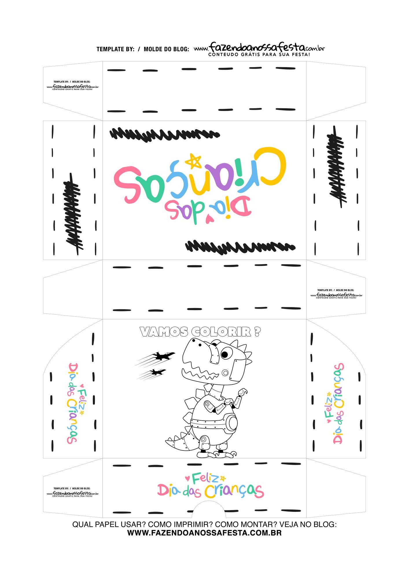Caixa Dia das Criancas para colorir Robo