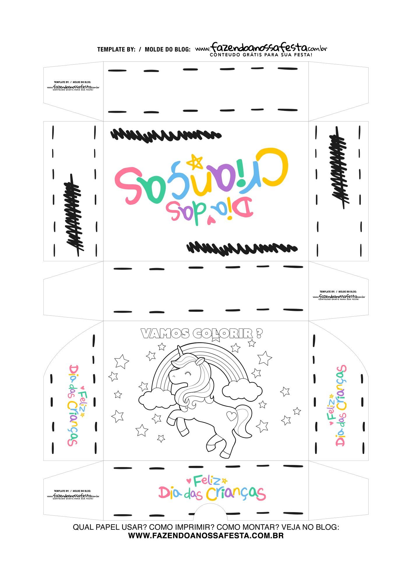 Caixa Dia das Criancas para colorir Unicornio