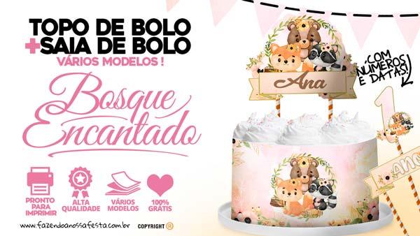 Topo de bolo Bosque Encantado Menina gratis