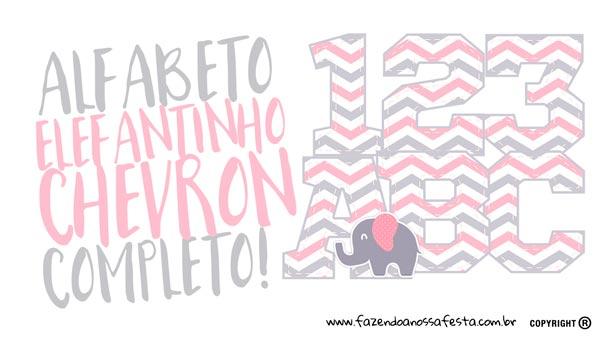 Alfabeto Elefantinho Rosa e Cinza Chevron