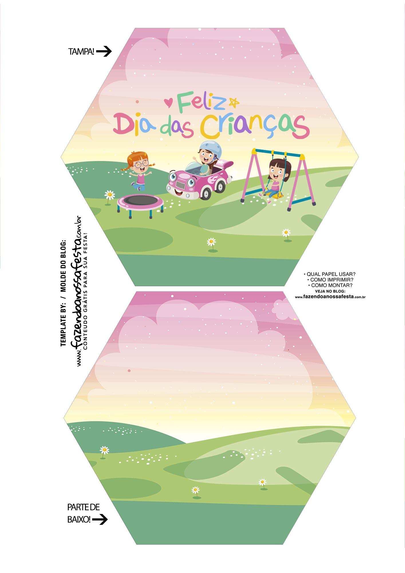Caixa Explosiva Dia das Criancas Rosa e Verde 1