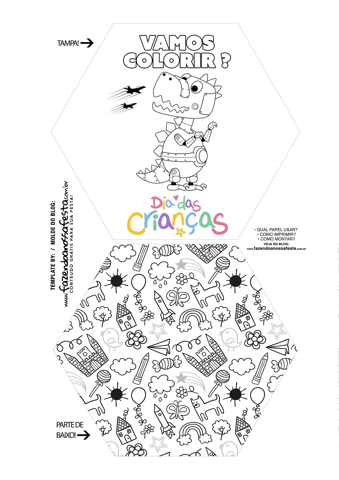 Caixa Explosiva Dia das Criancas para colorir 1