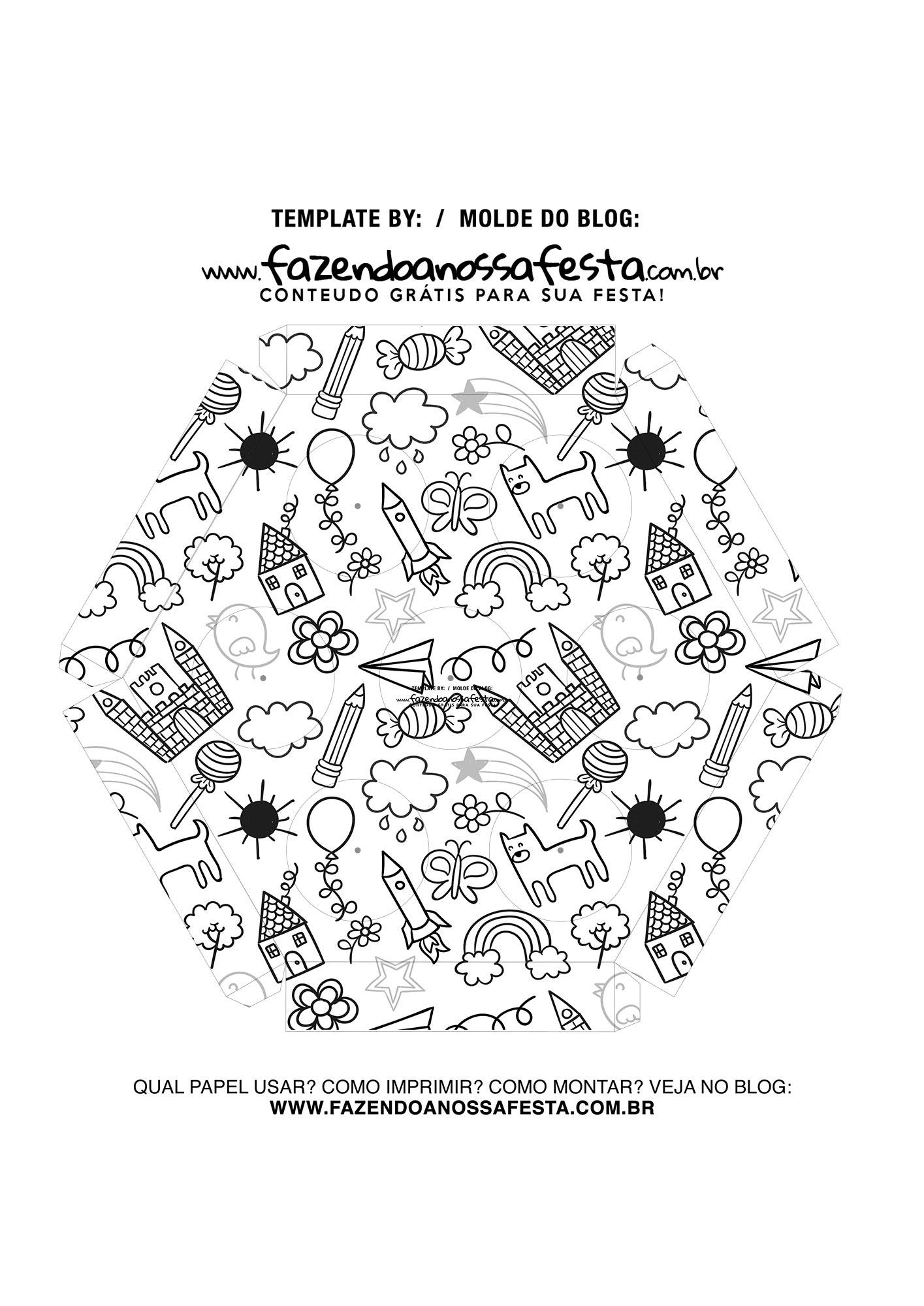 Caixa Explosiva Dia das Criancas para colorir 6