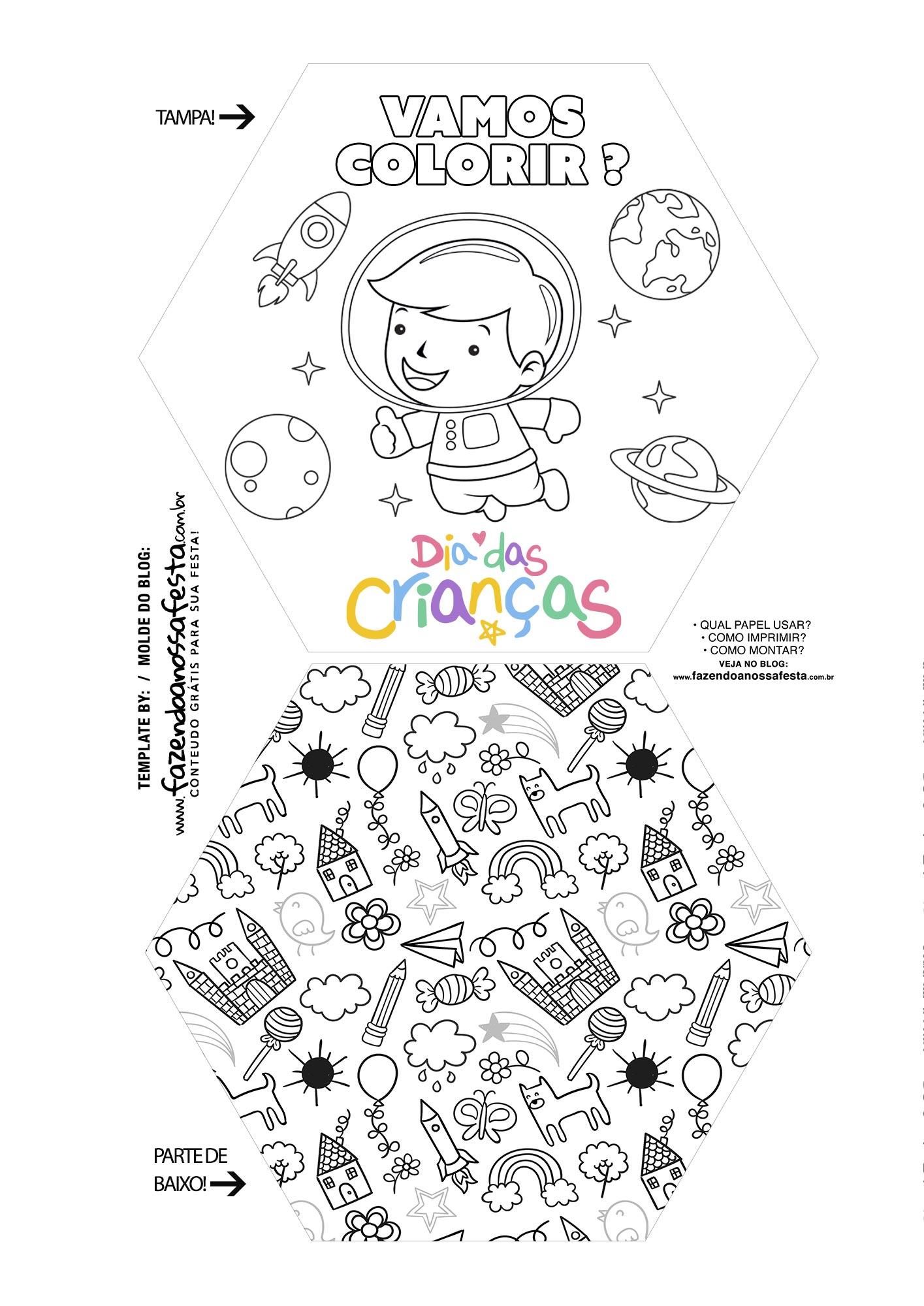 Caixa Explosiva Dia das Criancas para colorir astronauta