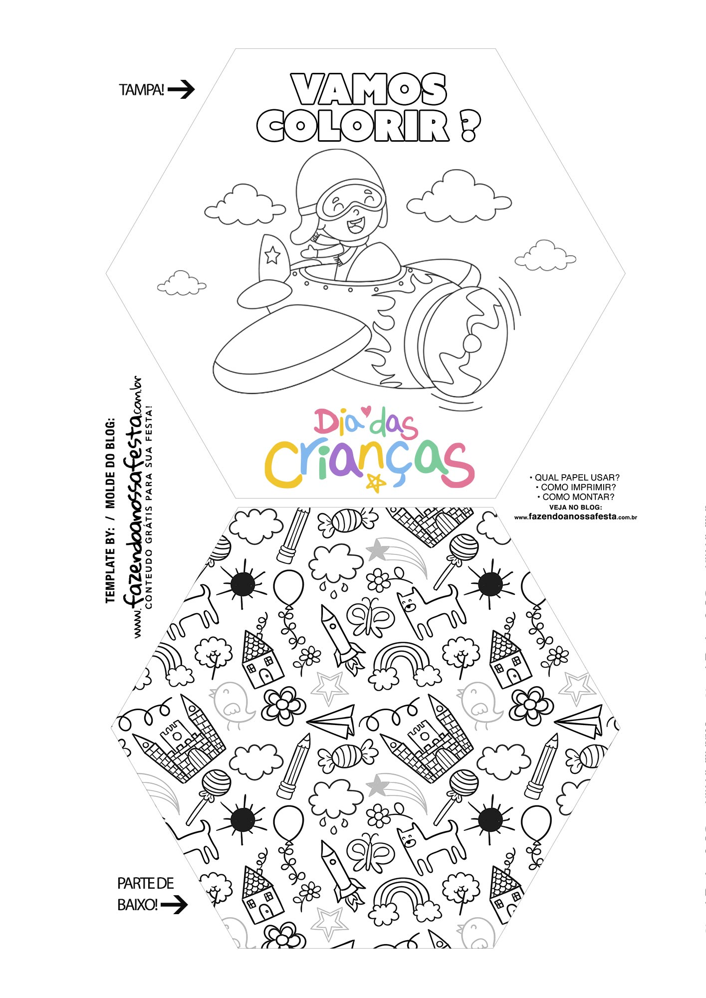 Caixa Explosiva Dia das Criancas para colorir aviador