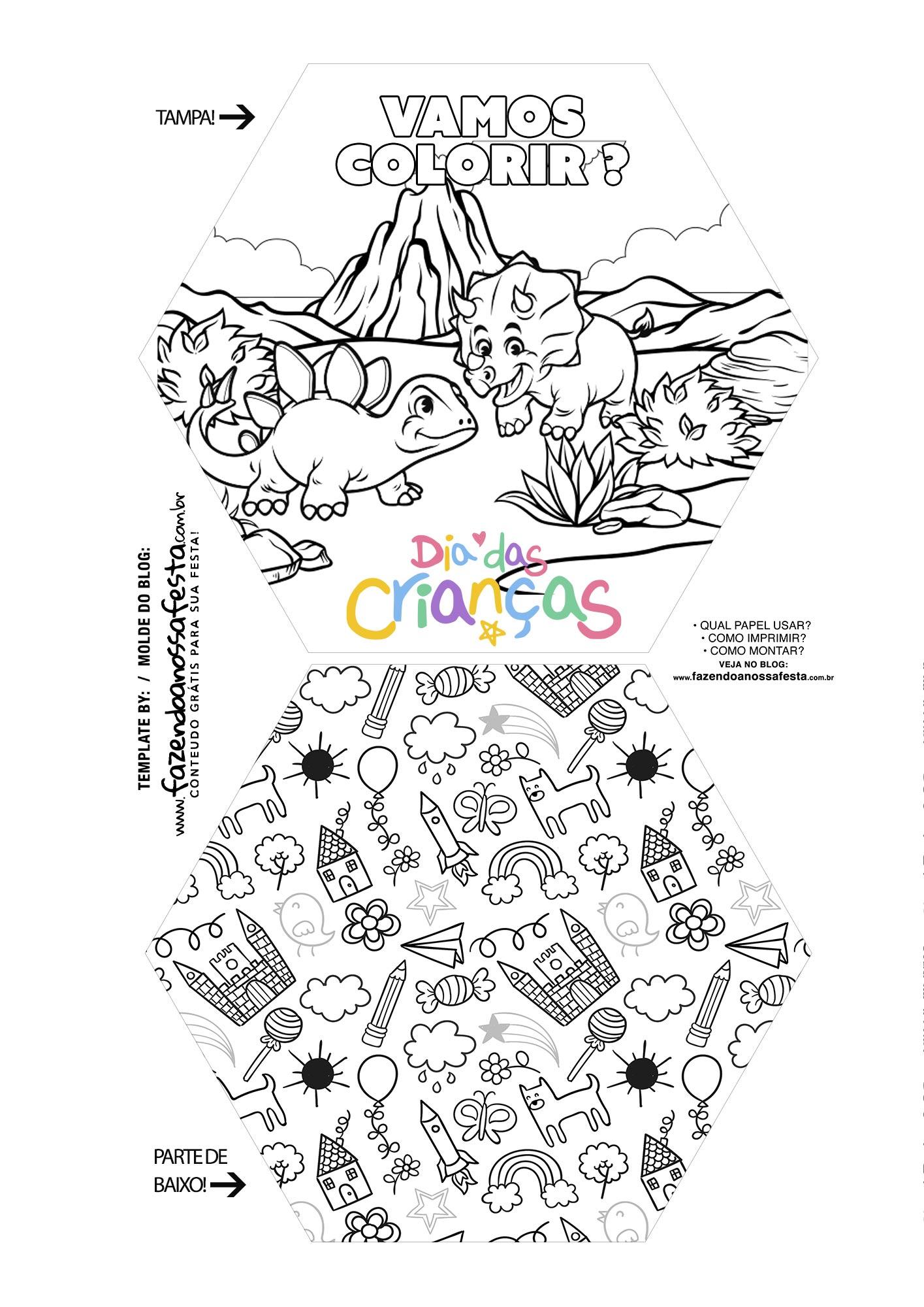 Caixa Explosiva Dia das Criancas para colorir dinossauro