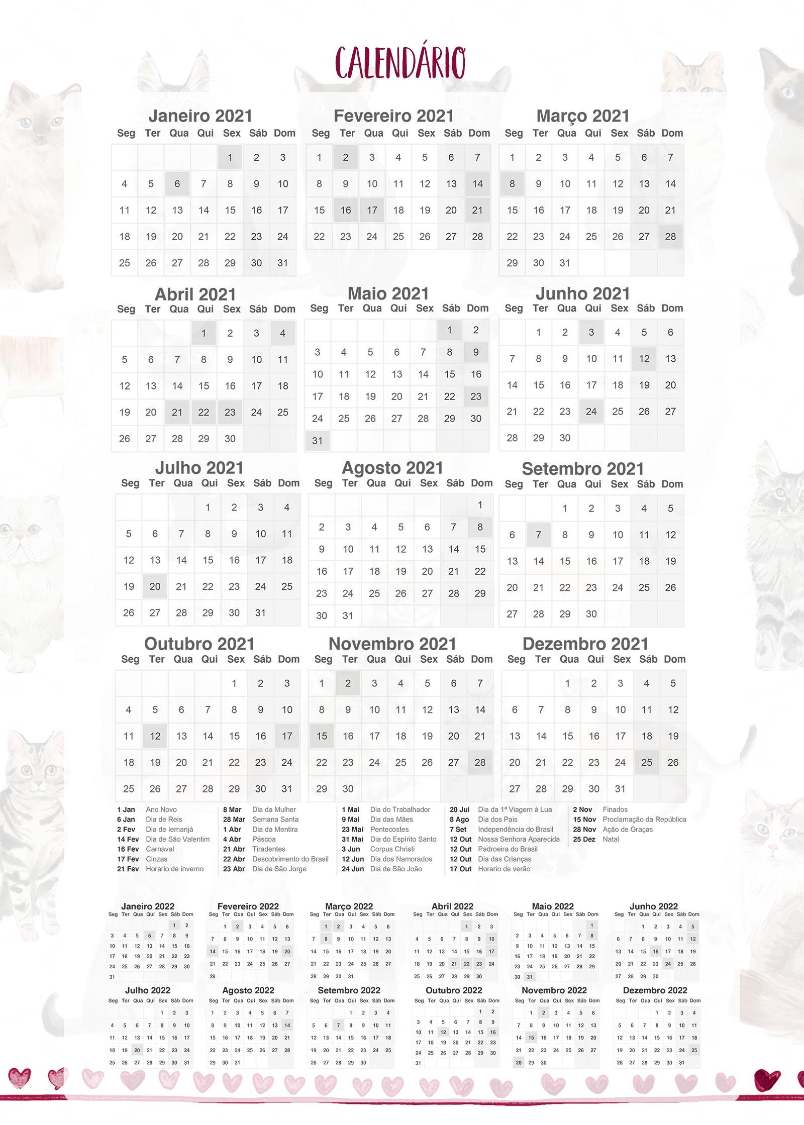 Calendario 2021 Planner Gatinhos