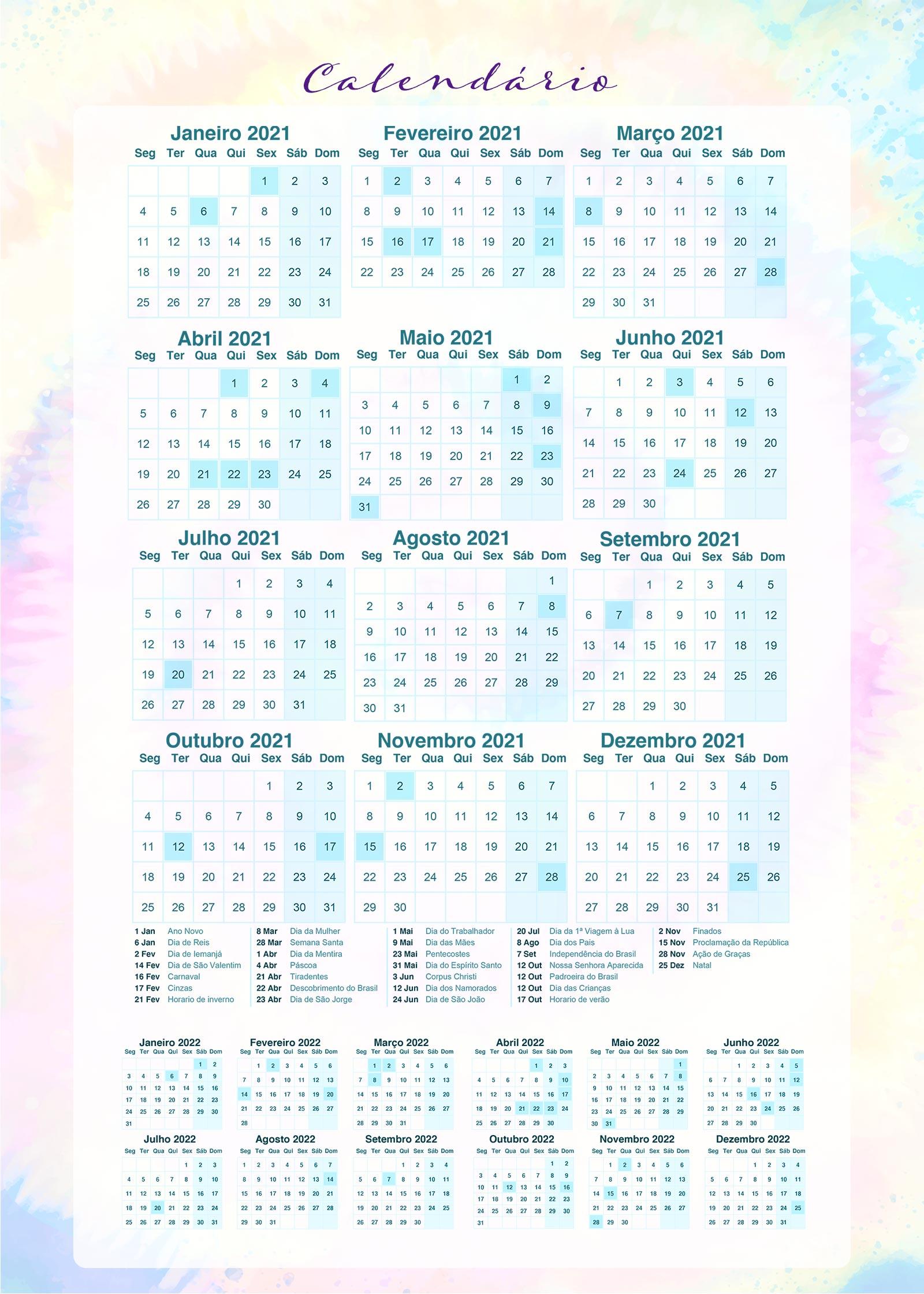 Calendario 2021 Planner Tie Dye