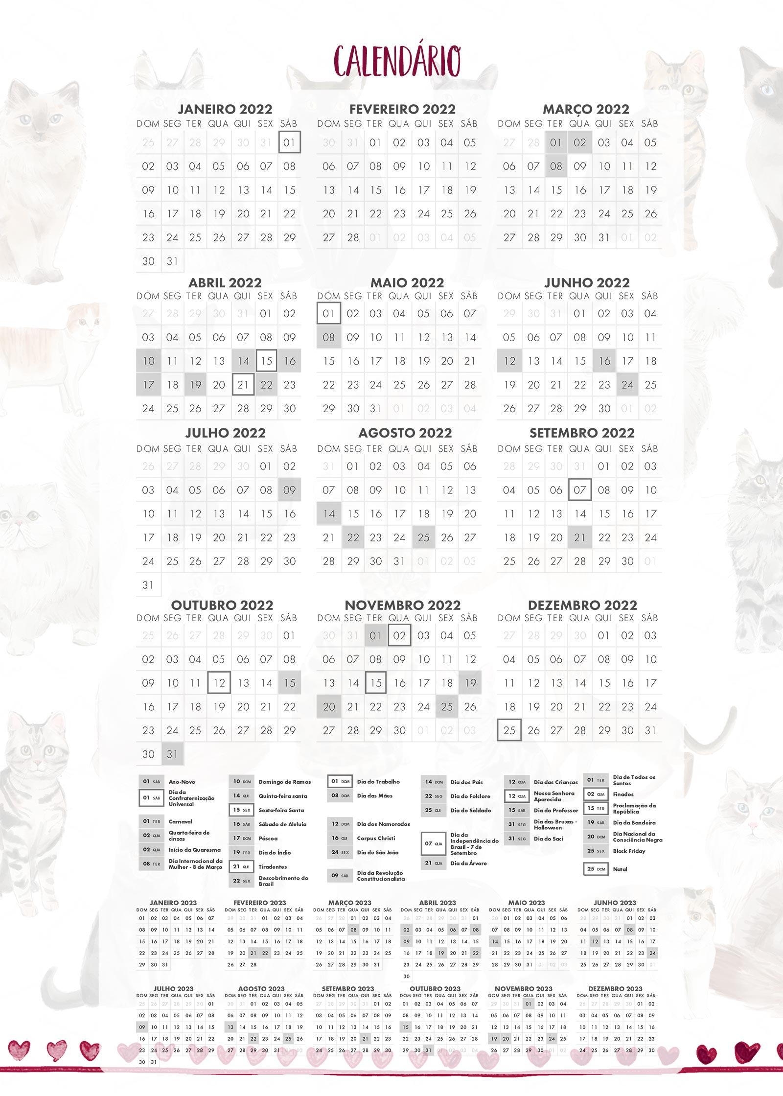 Calendario 2022 Planner Gatinhos