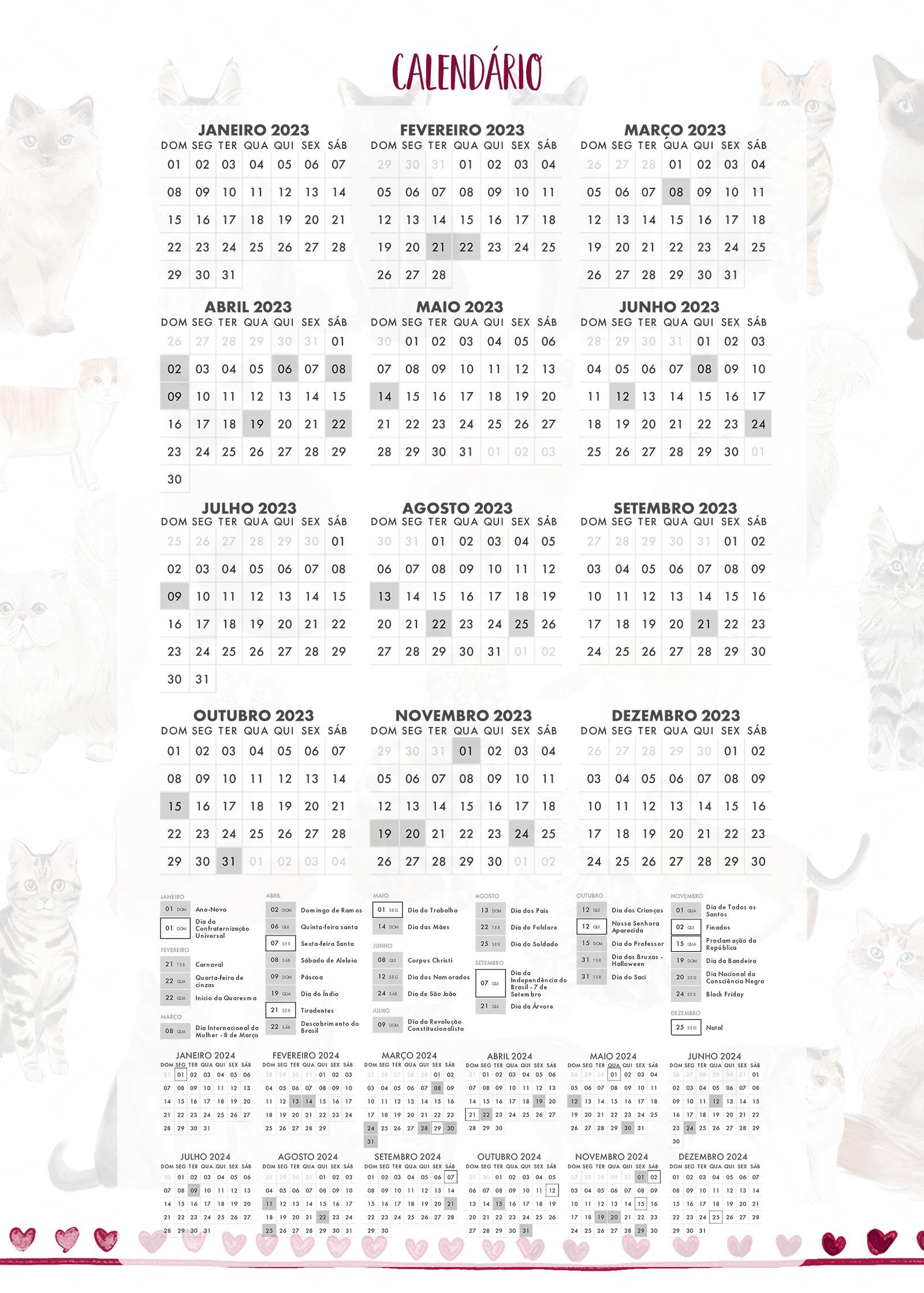 Calendario 2023 Planner Gatinhos