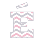 E-Agudo Letras Elefantinho Rosa e Cinza Chevron