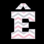 E-circunflexo Letras Elefantinho Rosa e Cinza Chevron