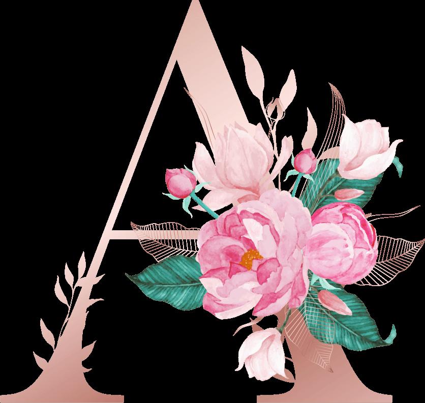 Letra com Flor A
