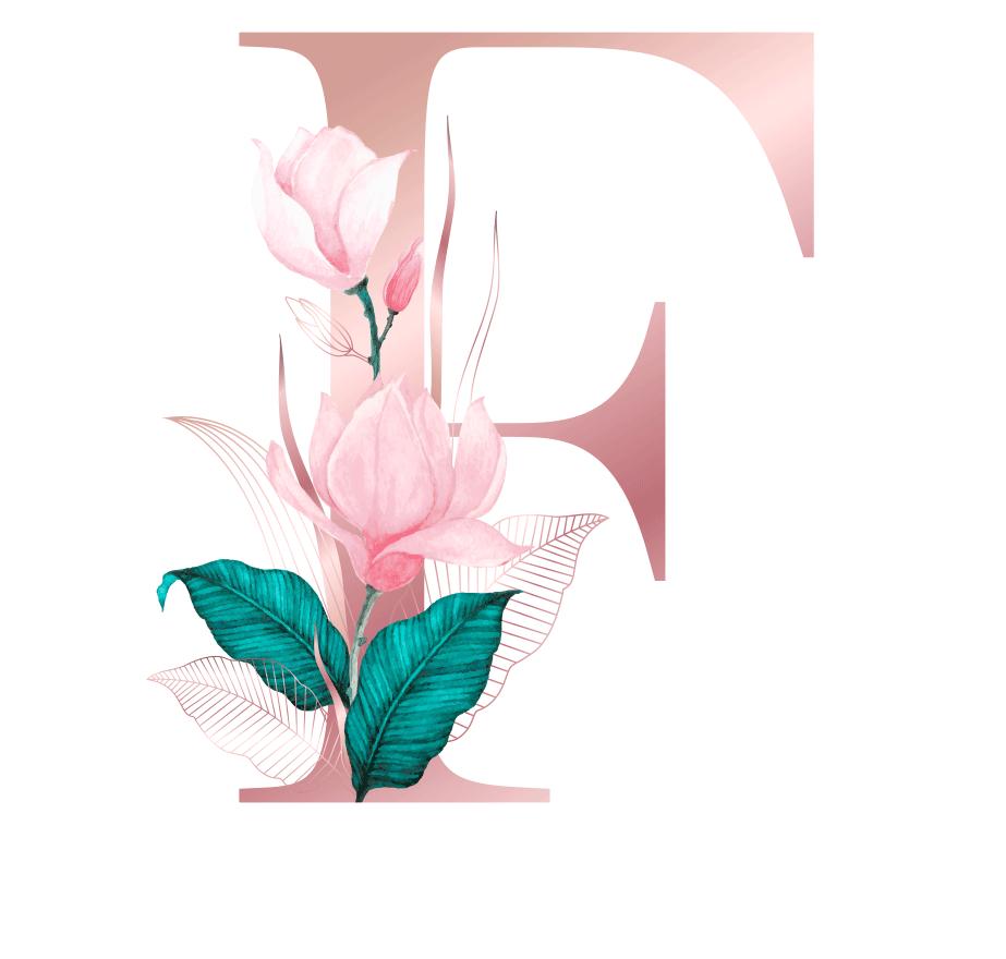 Letra com Flor F