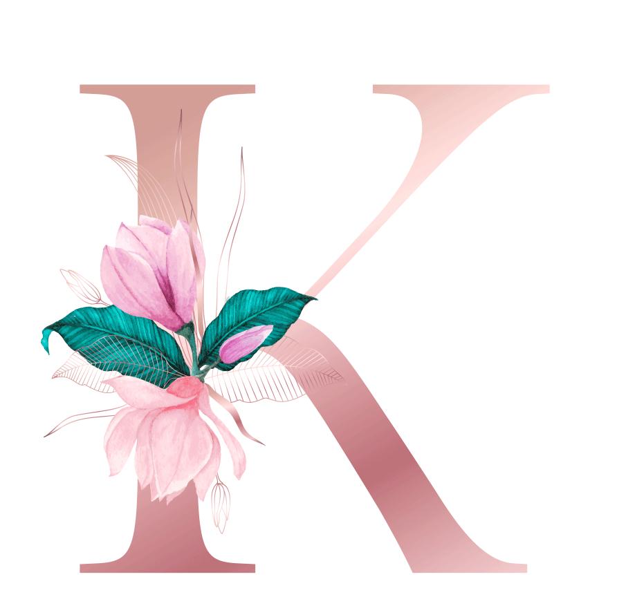 Letra com Flor K