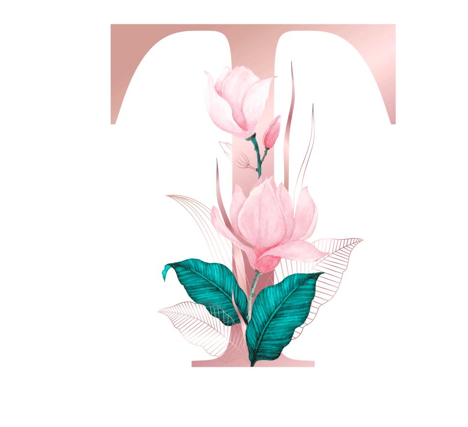 Letra com Flor T