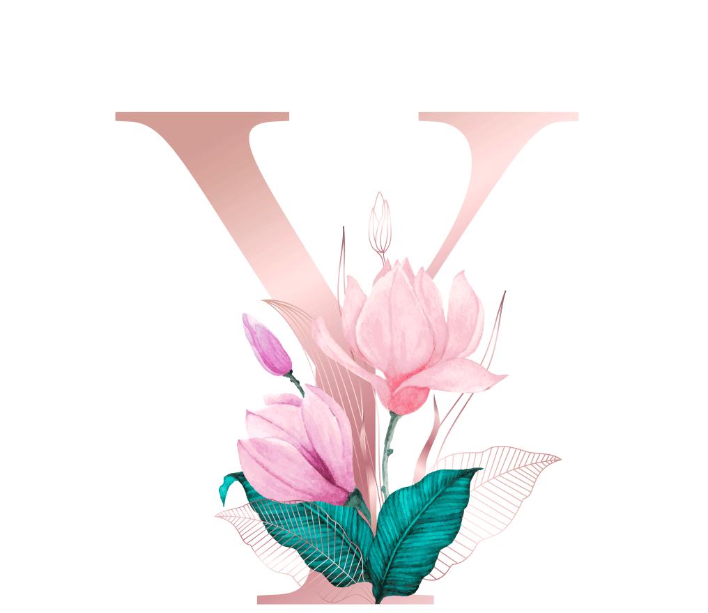 Letra com Flor Y