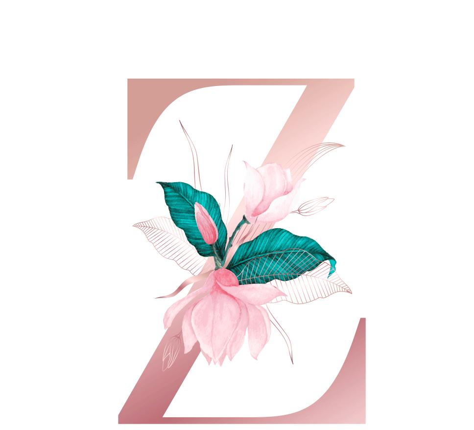 Letra com Flor Z