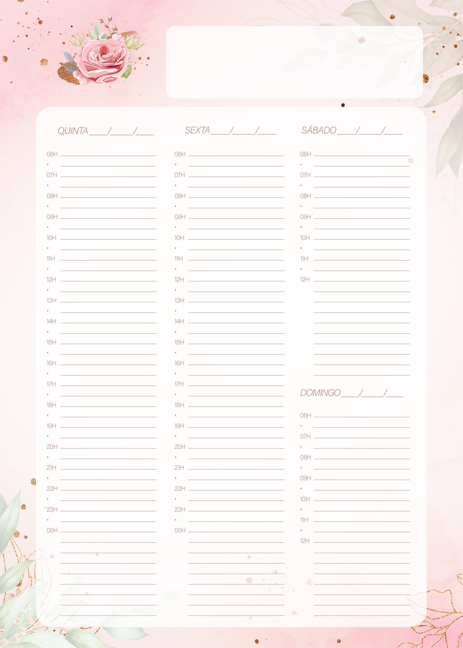 Planner 2021 Floral com Inicial Agenda Folha 2