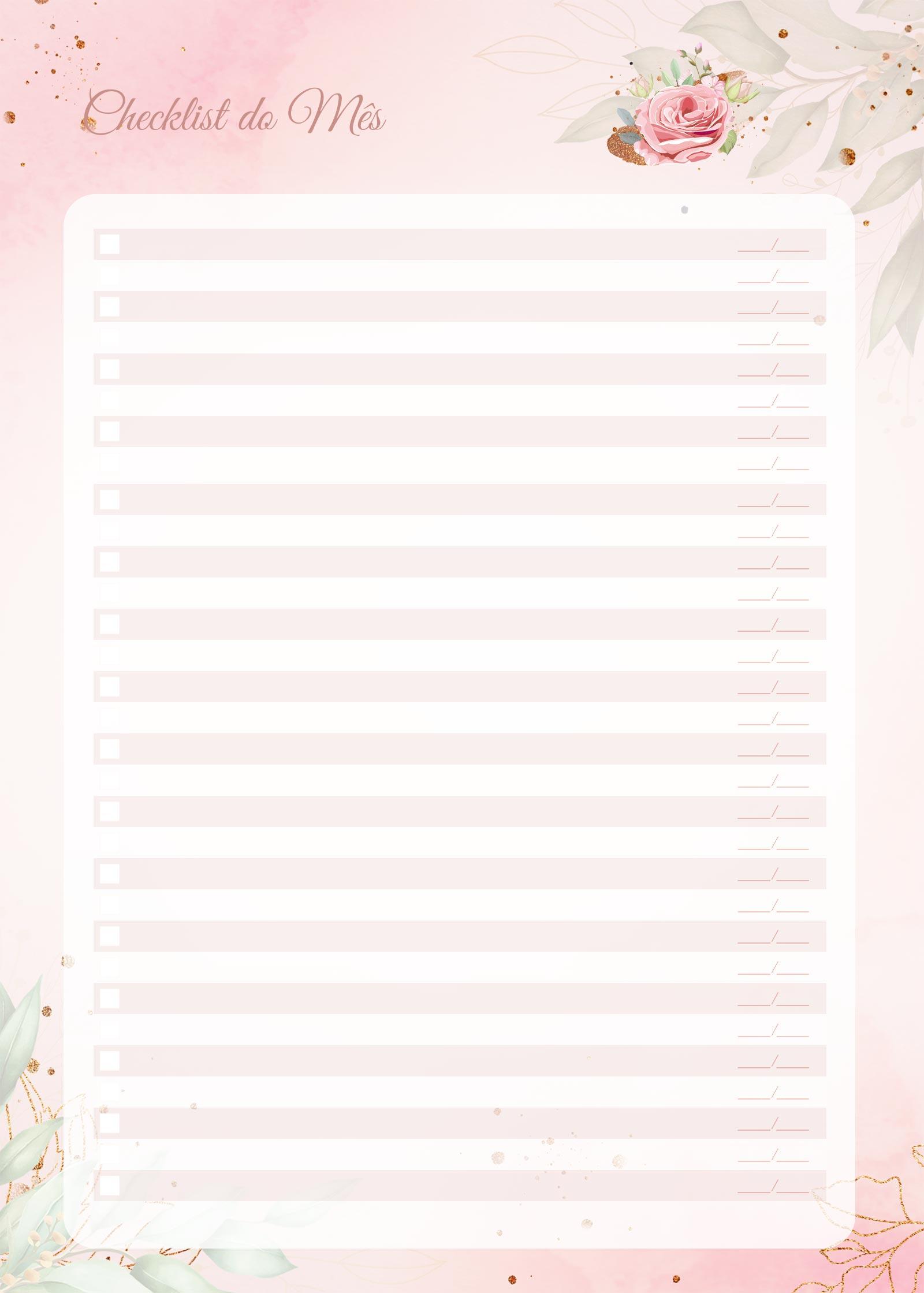 Planner 2021 Floral com Inicial Checklist Mensal