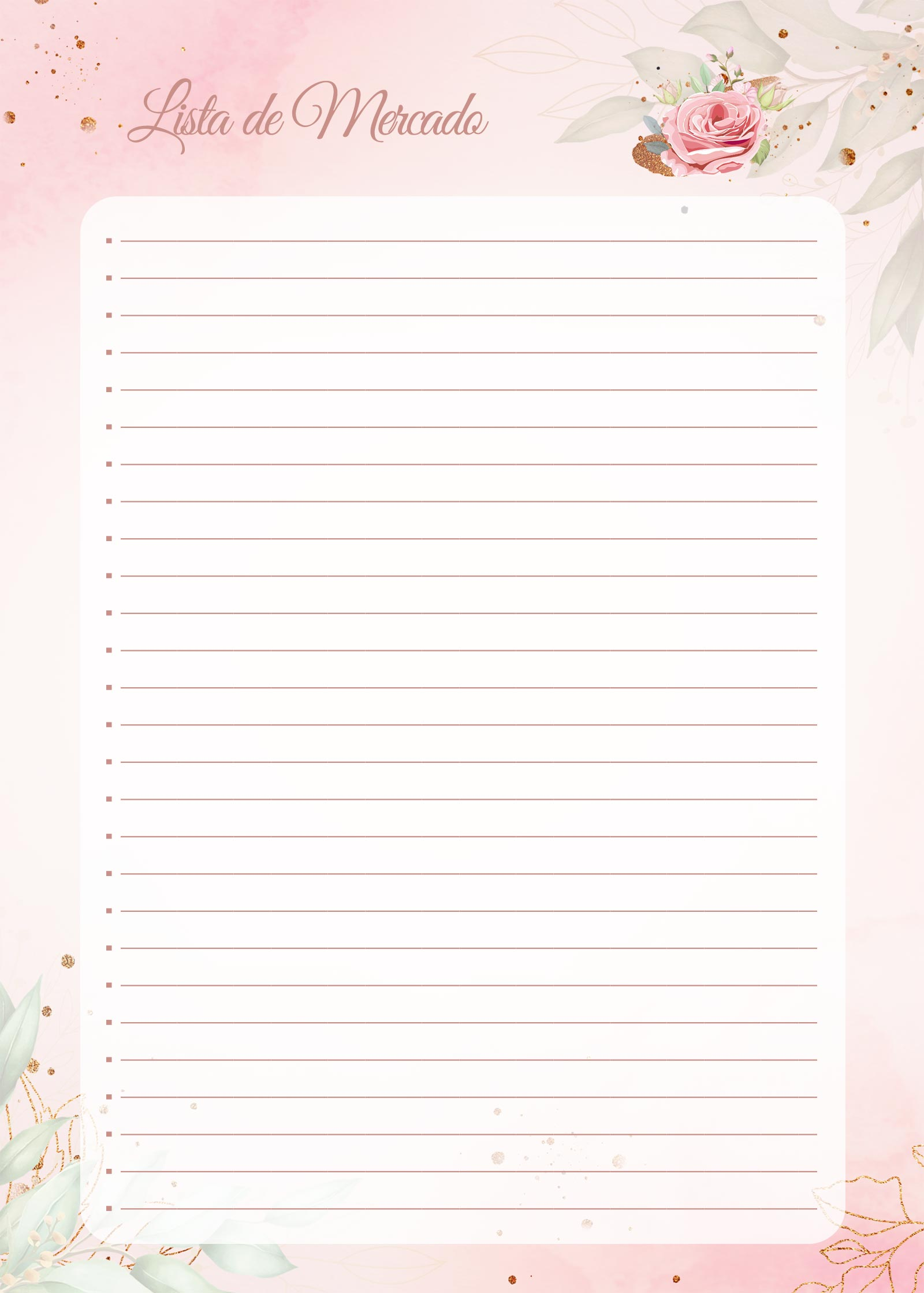 Planner 2021 Floral com Inicial Lista de Mercado